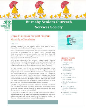Caregivers Newsletter April 2016