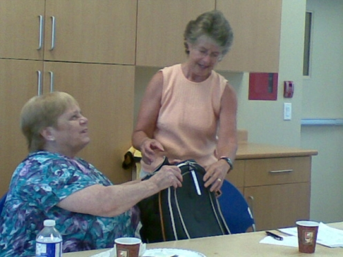 Presenting Linda with her retirement gift