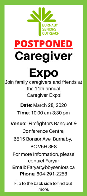 Caregivers Expo March 2020 Postponed