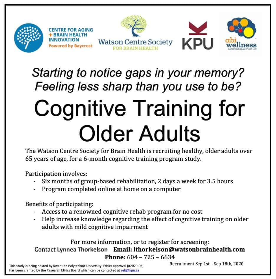 Cognitive Training flyer